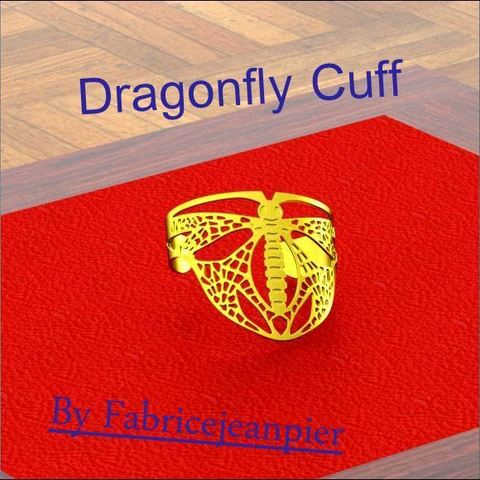 Dragonflybangl_Lt_carr_titl_bis.jpg Download STL file Dragonfly Cuff • Template to 3D print, 3d-fabric-jean-pierre