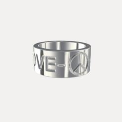 PEACE & LOVE RING 3D model, Helios-Maker