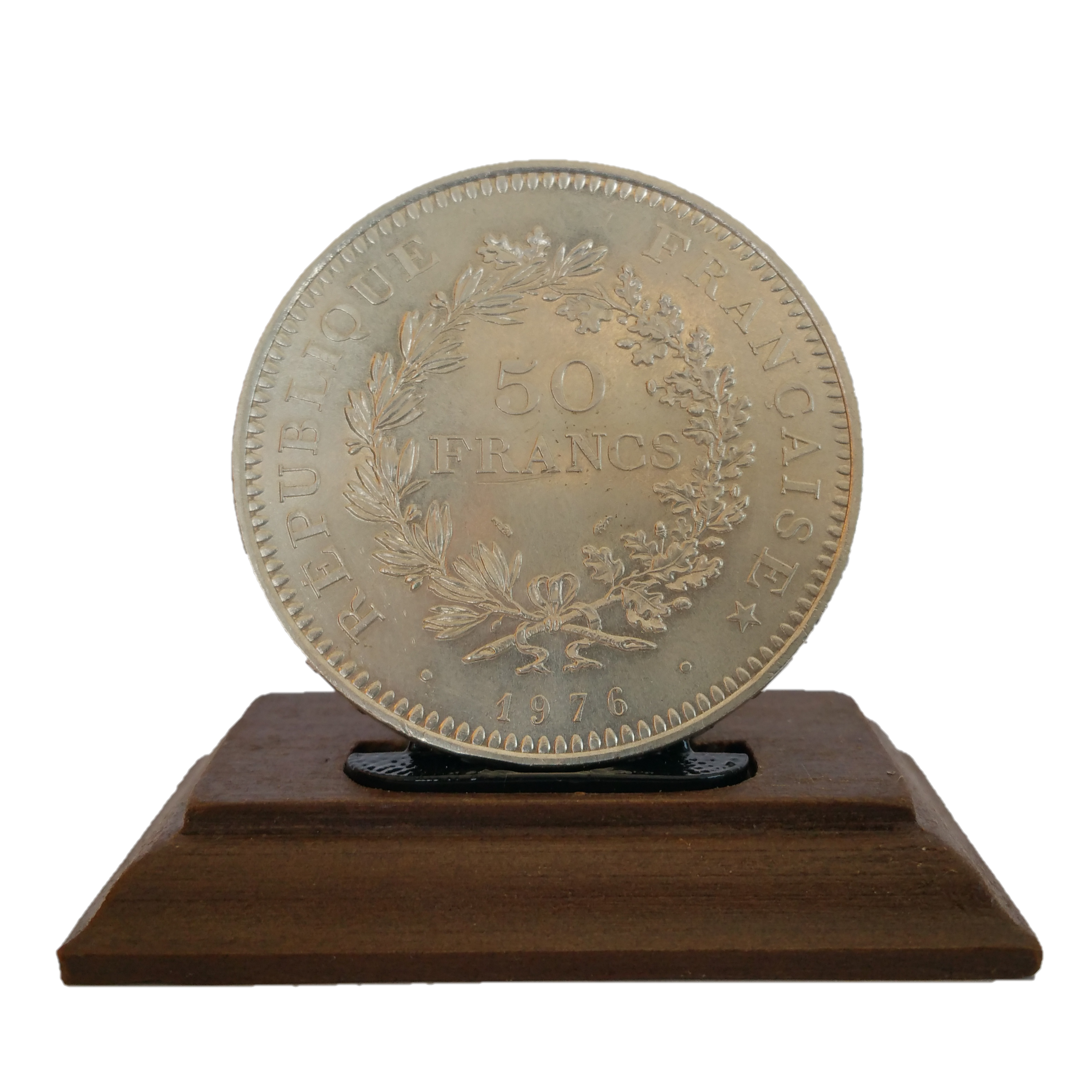 Socle en bois marron foncé 001.png Download STL file COIN DISPLAY • 3D printable model, Helios-Maker