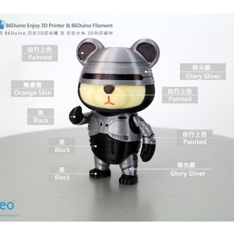 59ad472749fda7b256d3abd62acd63f5_preview_featured.jpg Download free STL file 86Duino RoboCop Bear • 3D print object, 86Duino