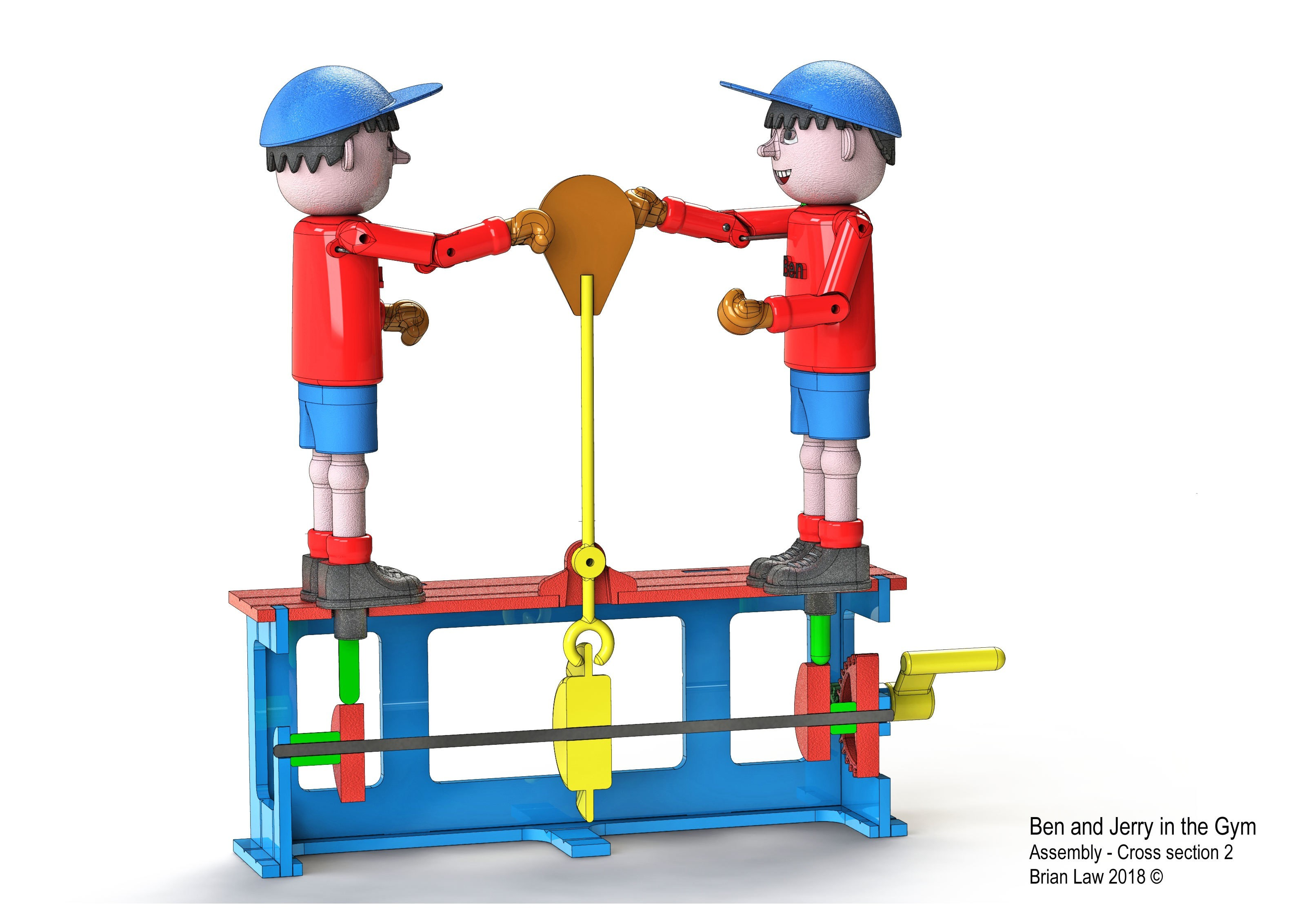 Ben-and-Jerry-3.jpg Download free STL file Ben and Jerry at the Gymnasium • 3D printer object, woodenclocks