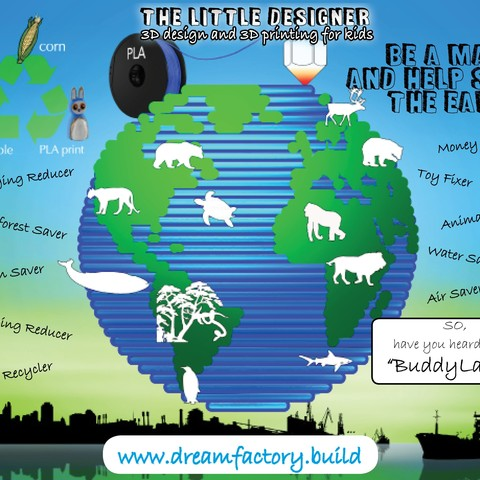 Be a maker and save the earth.jpg Download free STL file The Little Designer kids • 3D printer template, yanizo