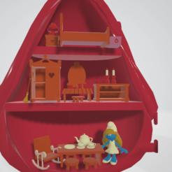 maison schtroumpfette interieur.png Download STL file SMURFETTE SMURFETTE SCHLUMPFINE POLLY POCKET • 3D printable object, Majin59