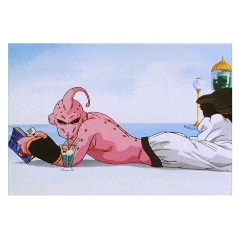 Majin BUU sipping at the temple of time
