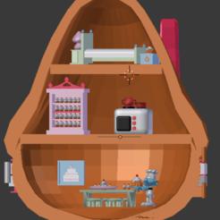 maison SCHTROUIMPF GOURMAND INTERIEUR.png Download STL file GOURMET SMURF - SMURF - SCHLUMP - POLLY POCKET • 3D printer design, Majin59