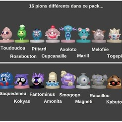 pions chess pokemon.jpg Download STL file Chess set / chess original pokemon in my way 32 pieces • 3D print design, Majin59