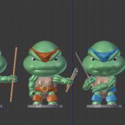 4 TORTUES CHIBI FACE.png Download STL file 4 NINJA CHIBI TURTLES • 3D print template, Majin59