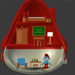 maison GRAND schtroumpf interieur.png Download STL file Papa Smurf - Grote Schlump-, Papa Smurf • 3D printable template, Majin59