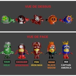 Download 3D printing files Jeu echecs / chess original avengers / minions, Majin59