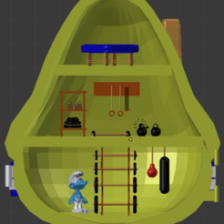 maison interieur schtroumpf costaud.png Download STL file STRONG SMURF - SMURF- POLLY POCKET • 3D print object, Majin59