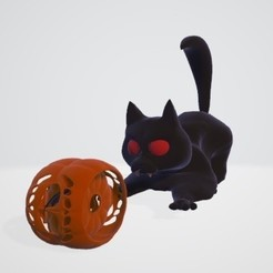chat balle.jpg Download STL file The cat and the bat • 3D printable design, Majin59