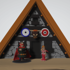 photo scene de vis abraracourcix et bonemine.png Download STL file Diorama, life scene Abraracourcix, Bonemine and their house • 3D printable template, Majin59