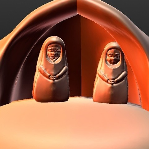 Download 3D printing designs Complete Christmas crib carved in the style of terracotta, Majin59