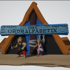 photo scene de vis ordralfabetix et bonemine.png Download STL file Diorama, life scene Ordralfabétix, Ielosubmarine and their house • 3D printable model, Majin59