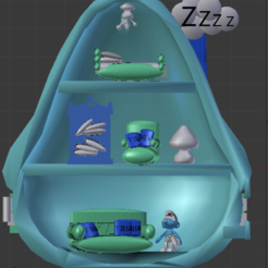 schtroumpf DORMEUR interieur.png Download STL file SLEEPY SMURF - POLLLY POCKET • 3D printer design, Majin59