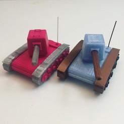 Impresiones 3D gratis Tanque de juguete - con cañón móvil, serial_print3r