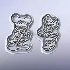 """Микки и Мини Маус.JPG Download STL file COOKIE CUTTERS """"MICKEY AND MINNIE MOUSE"""" • 3D printer design, DaGov007"""