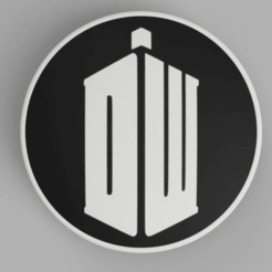BMW_Doctor_Who_V2_Logo_Bicolor_Front_82mm_1.png Download free STL file hood / trunk logo Bicolor Doctor Who 82mm / 74mm for BMW vehicles • 3D printable template, DaGoN