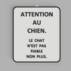 ATTENTION_AU_CHIEN_2.png Télécharger fichier STL gratuit Signe Bicolore ATTENTION AU CHIEN • Plan pour impression 3D, DaGoN