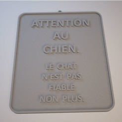 4ab9eeb013d762b85d594a0e858dd0af_preview_featured.jpg Télécharger fichier STL gratuit Sign ATTENTION AU CHIEN • Design pour impression 3D, DaGoN