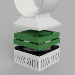 FanBooster_Assemblage.png Télécharger fichier STL gratuit Fan Static Pressure Booster for Desktop Bladeless Fan • Plan pour imprimante 3D, DaGoN