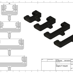 Download free 3D printer templates GoPro Y Mounting Set - Y-Fastening Kit for GoPro, DaGoN