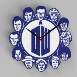 Doctor-Who---12-Doctors-Clock-1.png Download free STL file Doctor Who - 12 Doctors Clock - Ikea STOMMA Clock • Object to 3D print, DaGoN