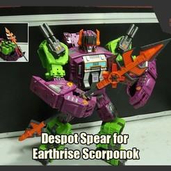ScorpSpear_FS.jpg Download STL file Despot Spear for Transformers Earthrise Scorponok • 3D printer object, FunbieStudios