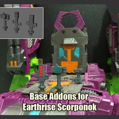 ScorpBaseAddons_FS.jpg Download free STL file Base Addons for Transformers Earthrise Scorponok • 3D printer design, FunbieStudios