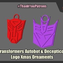 Descargar STL gratis Transformadores Logotipo de Navidad Ornamentos, FunbieStudios