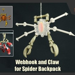 WebHookAndClaws_FS.jpg Download STL file Webhook and Claw Addon for Transformer Spider Backpack • Model to 3D print, FunbieStudios
