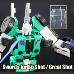 Download free 3D printer designs  Swords for Transformers Six Shot or Great Shot , FunbieStudios