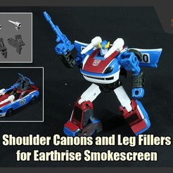 Smokesreen_Addons_FS.jpg Download STL file Shoulder Canons and Leg Fillers for Transformers Earthrise Smokescreen • 3D printer template, FunbieStudios
