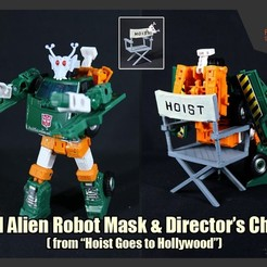 Download free 3D printer designs Hoist's Evil Alien Robot Mask & Director's Chair, FunbieStudios