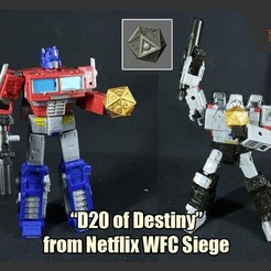 "Download 3D printing files ""D20 of Destiny"" from Netflix Transformers WFC Siege, FunbieStudios"