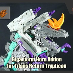 Download STL file Gigastorm Horn Addons for Transformers Titans Return Trypticon, FunbieStudios