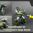 Download 3D printer files Flamethrower for Transformers Siege Hound, FunbieStudios