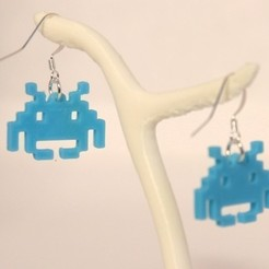 Download free 3D printer designs Earrings space invaders, objets3d