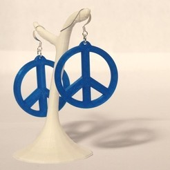 Download free STL file Earrings peace & love, objets3d