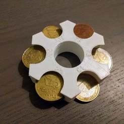 Télécharger fichier STL gratuit Détenteur de pièces en euros v2 • Plan pour impression 3D, cash