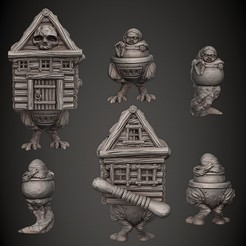 X_Baby_Yaga_n_Hut_Cults3D.jpg Download STL file Baby Yaga • 3D print model, PorcSkulpt9