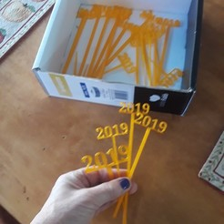 Free 3D model 2019 New Years Party Picks and Swizzle Sticks, barb_3dprintny