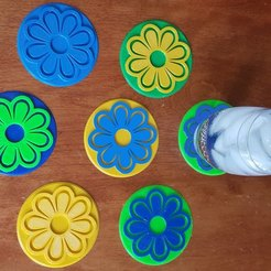 flower coasters.jpg Download free STL file Flower Coasters for Mother's Day • 3D printing object, barb_3dprintny