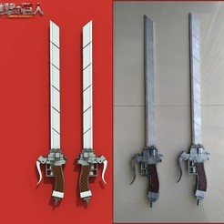 "AonTitan_Dual.jpg Download STL file Anime sword ""Attack on Titan"" • 3D printable object, RedMutant"