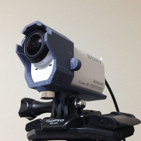 Download free STL file SONY HDR-AZ1VR Attachment for Gopro Mount v2 • 3D printable object, CyberCyclist