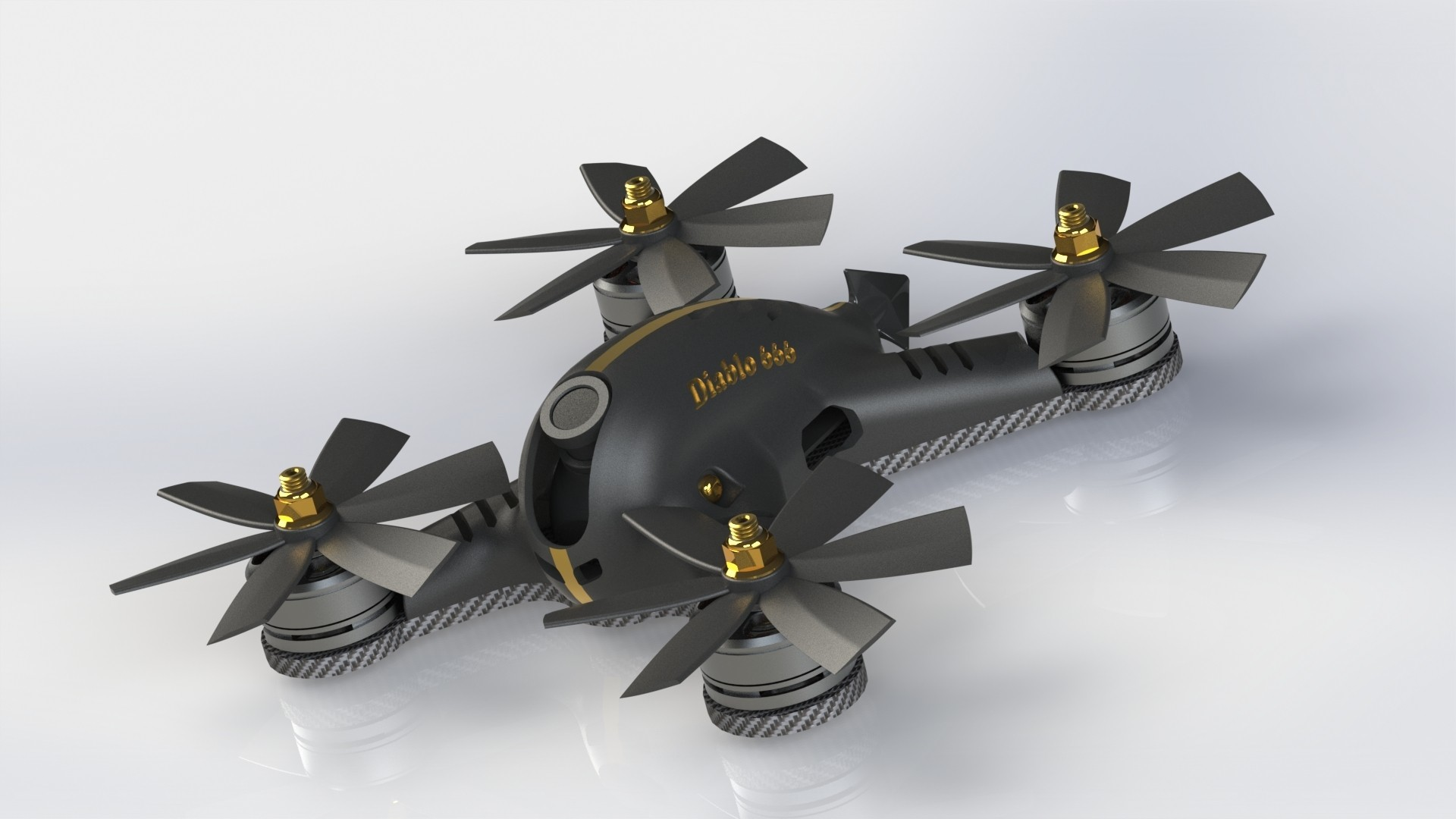 rendu final noir mat.JPG Download STL file FPV racing Diablo 3p 22XX V1 • 3D print design, DamDam3D