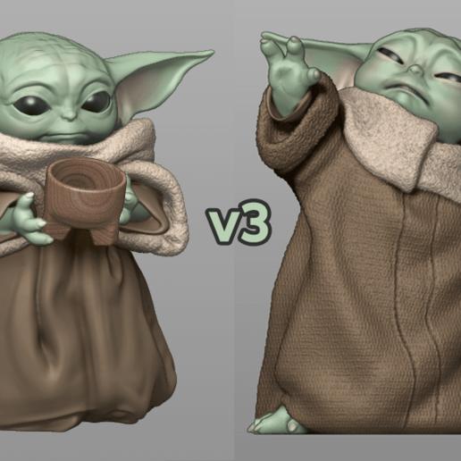 Impresiones 3D Baby Yoda Usando la Fuerza - Con Taza - PACK - El Mandorrial, MarianoReyEsculturas