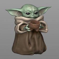 01.jpg Télécharger fichier STL GROGUES - Bébé Yoda avec tasse - Le Mandalorien • Plan pour imprimante 3D, MarianoReyEsculturas