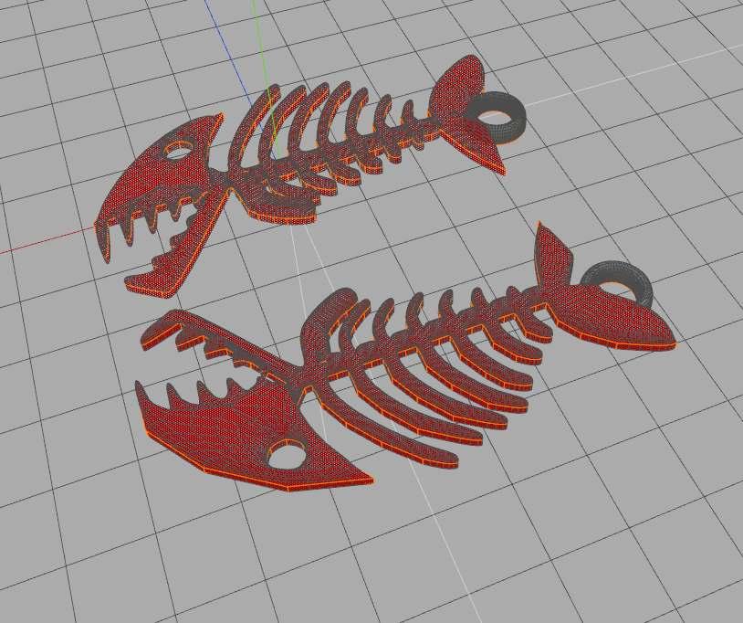 PoissonPorteClefsCAO.jpg Download free STL file Keyring, Fish skeleton • 3D print model, phipo333
