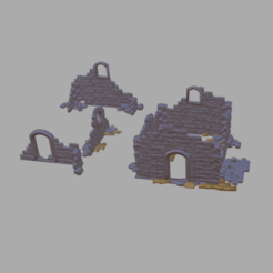 Ruines.png Download free STL file Ruins of houses and buildings • 3D printer model, phipo333